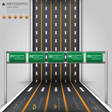 city street traffic infographic elements vector