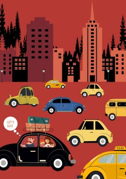 city traffic drawing car buildings icons colored cartoon