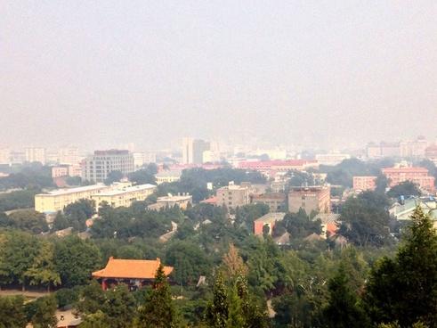 city under haze in beijing china