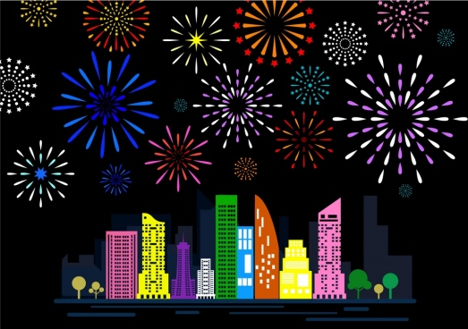 citys fireworks background design colorful flat decoration