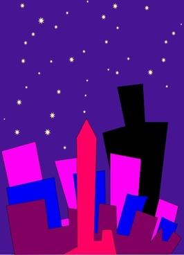 Cityscape At Night clip art
