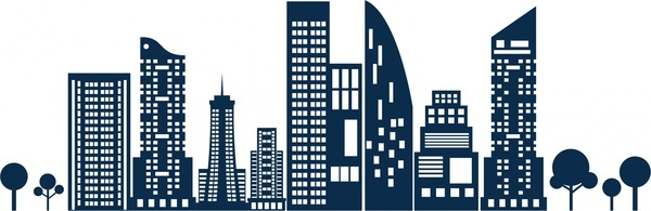 cityscape design sketch high buildings on white background