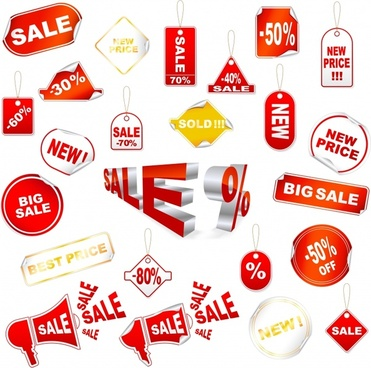 sale tags collection modern red flat 3d decor
