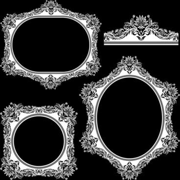 frame templates vintage decor black white symmetrical curves