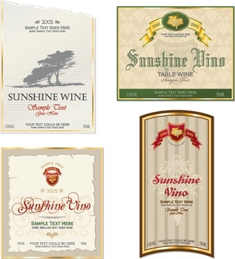 wine label templates classical design text ribbon decor