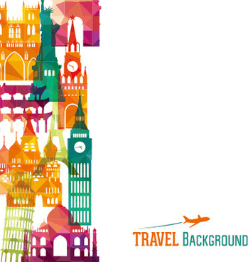 classic buildings with travel background vector