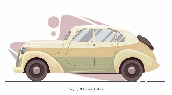 classic car model icon colored flat sketch