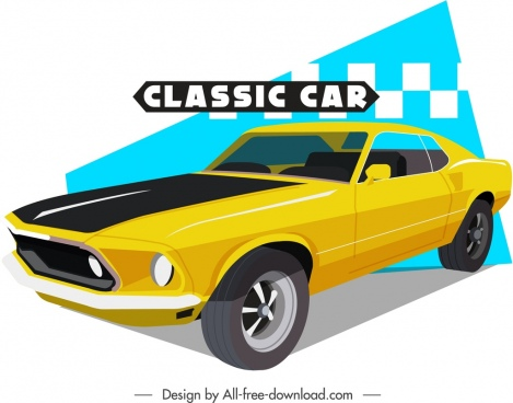 classic car template luxury yellow 3d design