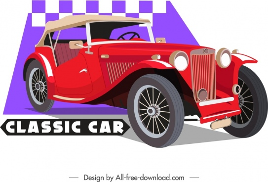 classic car template red luxury decor 3d design