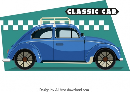 classic car template retro blue flat sketch