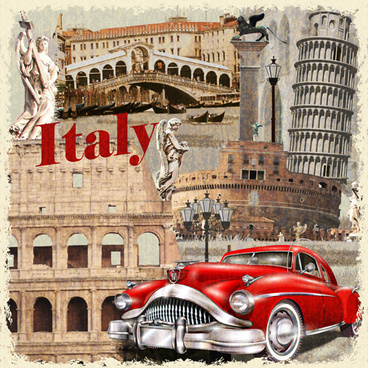 Classic Cars And Travel Vintage Poster Vector