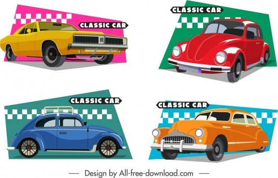 classic cars icons colorful 3d flat design