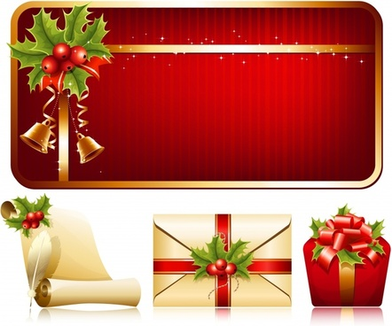 christmas design elements shiny elegant symbols decor