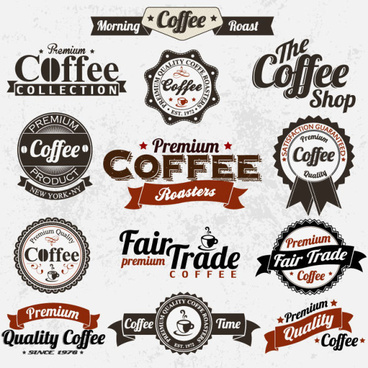 classic coffee elements free vector