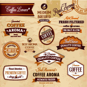 classic coffee labels design vector