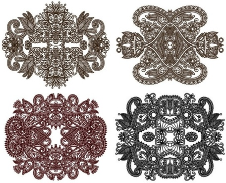 classic decorative patterns elements 01 vector