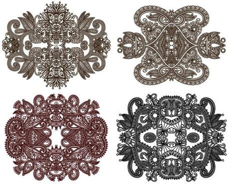 classic decorative patterns elements 01 vector