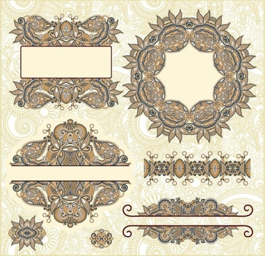 classic decorative patterns elements 02 vector