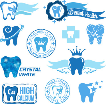 classic dental logos and labels vector graphics
