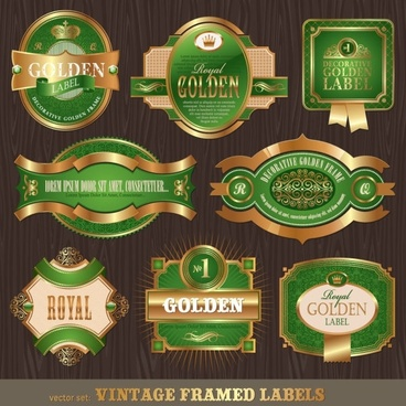 classic european pattern bottle label 02 vector