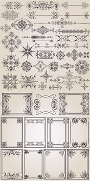 documents decor elements elegant vintage symmetrical shapes
