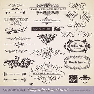 decorative elements templates classical elegant symmetric curves
