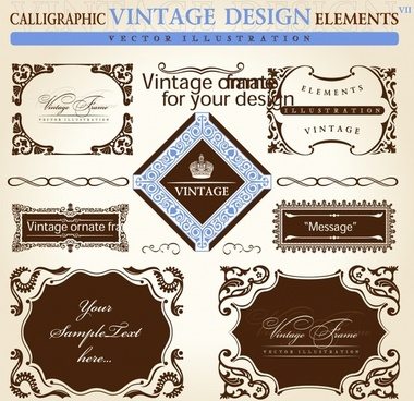 decorative frame templates vintage elegant symmetric decor