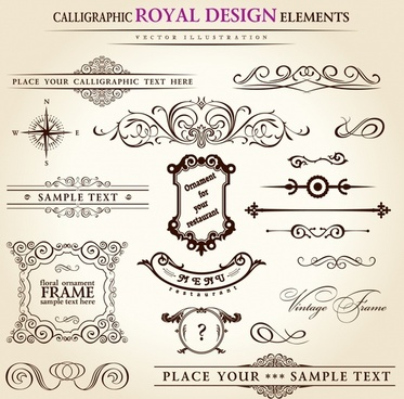 decorative elements templates elegant classic symmetric shapes