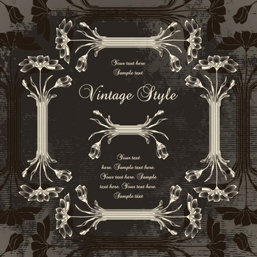 decorative frame template elegant classical european floral sketch