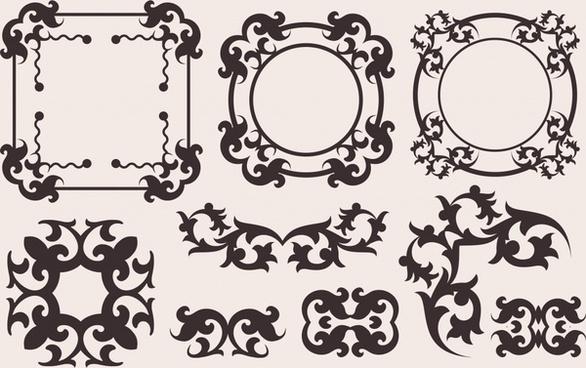 border elements templates classical european symmetric shapes