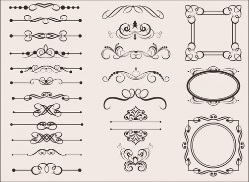 documents decorative elements collection classic european symmetric shapes