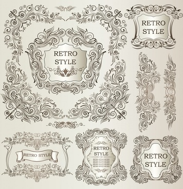 document decorative templates elegant symmetric retro european design