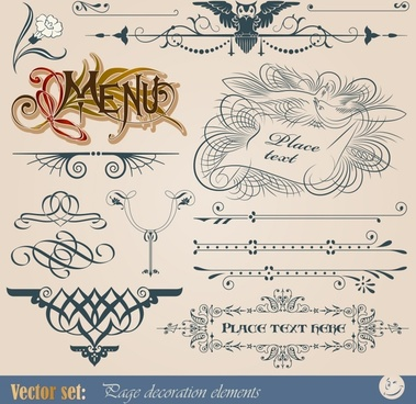 menu decorative elements artistic retro symmetric curves decor