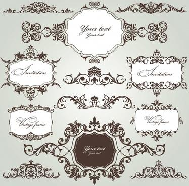 card decorative elements formal retro european symmetric curves