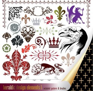 heraldic design elements european retro symbols