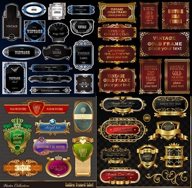 european labels templates retro elegant luxury design