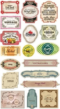 label templates collection retro shapes sketch