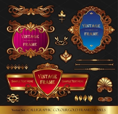 classic europeanstyle bottle stickers and patterns 02 vector