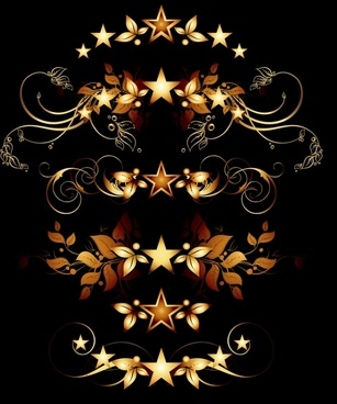 decorative elements stars leaf decor classic european symmetry