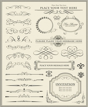 card decorative templates formal symmetric classical shapes