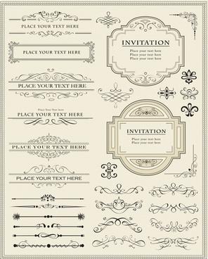 card decorative templates retro symmetric shapes elegant design