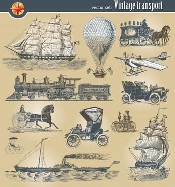 transportation icons retro sketch european characteristics