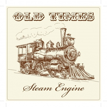vintage banner template train icon sketch handdrawn design