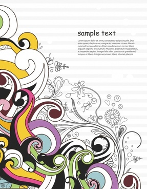 decorative nature background colorful dynamic doodles sketch