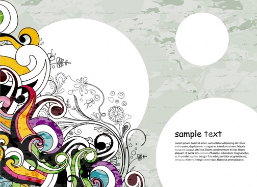 abstract background template botany doodles sketch colorful curves