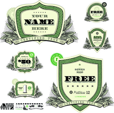 classic financial labels vector graphics