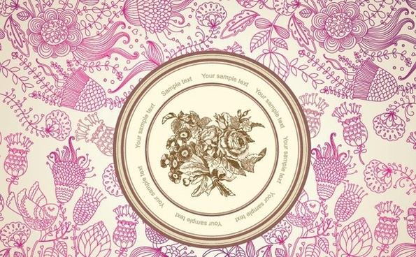 floral pattern background center circle classical violet ornament