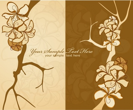 floral background retro flat handdrawn sketch