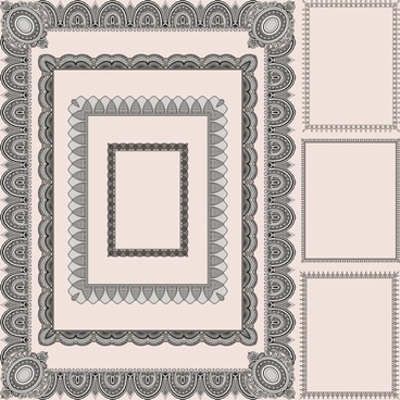 decorated frame templates elegant retro symmetric seamless