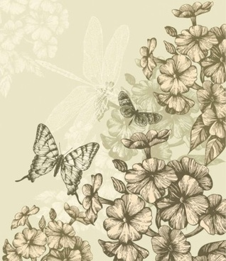 classic hand painting background vector